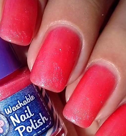 Washable Nail Polish Fuscia Swatches - Washable Nail Polish