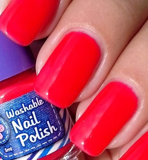 Washable Nail Polish Red Swatches - Washable Nail Polish